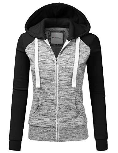 Doublju Womens Lightweight Soft Zip Up Raglan Fleece Hoodie Sweater Jacket MELANGEBLACK XL