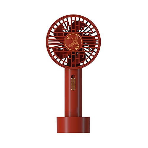 baa Ventilador portátil Estilo Chino Ventilador de Mano Mini Ventilador Recargable Pequeño Pequeño Portátil Ventilador USB 2 velocidades Ventilador de Escritorio Lindo (Color : Red)