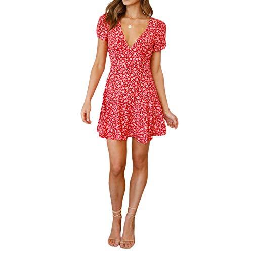 Geagodelia Robe Femme Courte Fleurie Dress E-Girl Ligne A Col en V Robe Vintage Manches Courtes Évasée Serre Taille Jupe Fille Fluide Rétro Mince Casual Chic Mode Robe (Rouge, S)