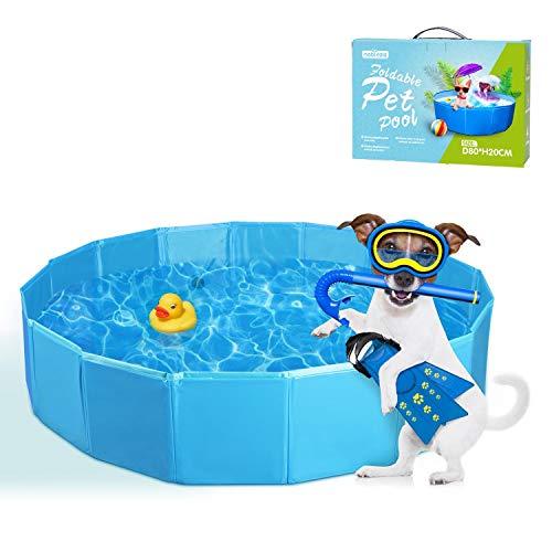 Nobleza Piscina Perros Bañera Plegable para Mascotas Piscina Resistente y Estable PVC Antideslizante Adecuado para Interior Exterior al Aire Azul 80 * 20cm