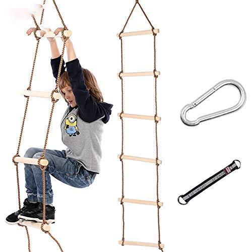 Columpio infantil Escalera de cuerda, escalada de la cuerda de escalada para niños, 6 SECCIÓN Niños Cuerda Escalera Escalada Marco de escalada Colgando de la cuerda de nylon para niños Interior Outdoo