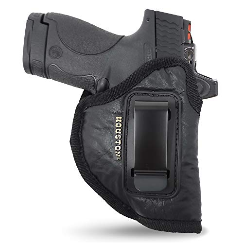 IWB Optical Gun Holster by Houston - ECO Leather Concealed Carry Soft Material | Fits Glck 26/27/33, Shield, XDS, Taurus 709, Taurus Pro C, Walther P22, Beretta Nano, SCCY Sky.Rug LC9 (Right)
