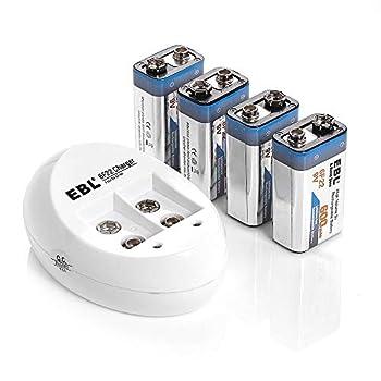 EBL 4-Pack 9V Batteries Li-ion 9 Volt Rechargeable Batteries with 840 9V Battery Charger
