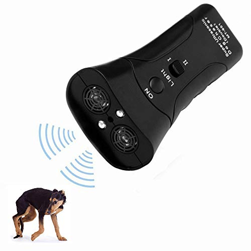 LAKA Ultrasonic Dog Repeller,Dog Bark Control Device,Anti Barking Deterrents Silencer Stop Barking Bark, Electronic Dog Trainner with LED Flashlight