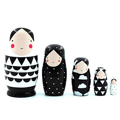 5PCS russische Matroschka, russische Verschachtelungs-Puppen aus Holz Schwarzweiss-Verschachtelungs-Puppen Russian Doll Set für Kinder-Spielzeug-Geschenk-Dekor