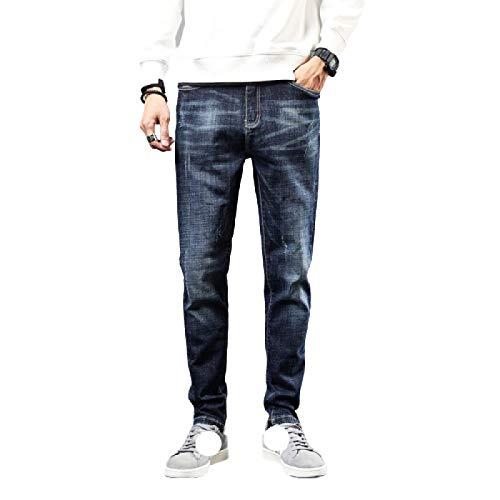 Nuevos Pantalones de Mezclilla con Estilo de Ajuste Regular y Pierna Recta elástica para Hombre Pantalones de Ocio de Movimiento cómodo de Estilo Vintage 36