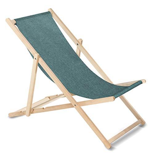 GreenBlue Liegestuhl Sonnenliege Klappbar aus Buchholz ohne Armlehne Sonnenliege Gartenliege Liege (Türkis Melange)