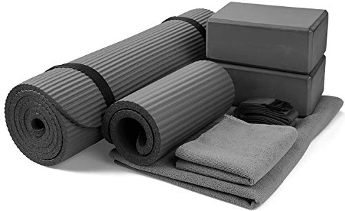 BalanceFrom GoYoga unisexadult 7Piece Set  Include Yoga Mat with Carrying Strap 2 Yoga Blocks Yoga Mat Towel Yoga Hand Towel Yoga Strap and Yoga Knee Pad Gray 1/2quotThick Mat