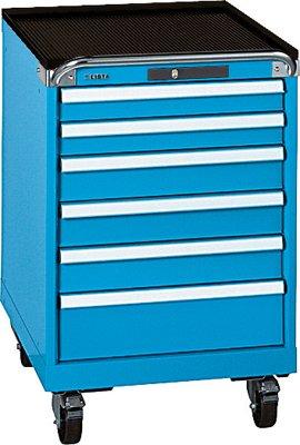 LISTA Schubladenschrank, Traglast/Schubl. 75 kg, fahrbar: 6 Schubladen: 2x75, 3x100,150 mm, Code-Lock, BxT xH 564x572x890 mm, RAL 5012 lichtblau