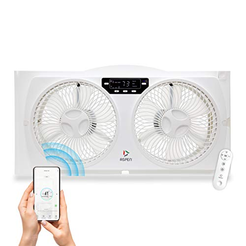 ASPEN Smart Window 120v Twin Window Fan | WiFi App Controlled 3 Speed + Multi-Function Detachable Blades Easy Clean Reversible Air Flow | Compatible with Alexa, Google Assistant