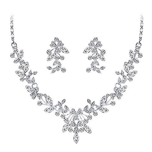 Juego de joyería para mujer, boda, fiesta, diamantes de imitación, diseño floral, brillante, collar y pendientes