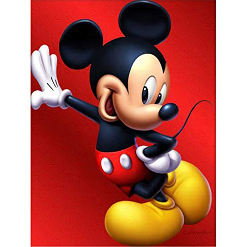 5D Diamond Painting Kits for Adults Kids, Red Mickey Mouse Handsome Full Drill Paint with Diamonds,Wall Paintings for Living Room Diamond Cross Stitch Arts Canvas for Home Decor 11.8x15.7 inch