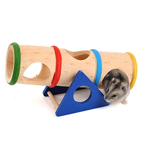 Hamster Wooden Seesaw Tunnel Toy Funny Gym Playground Exercise House for Dwarf Hamster Small Pets (Seesaw Tunnel)