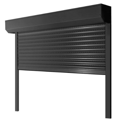 Vorbaurollladen Typ Corner, 39mm Aluminium-Lamelle 120x120cm mit Gurtwickler, Bedienseite: Rechts, (Anthrazit (ähnlich RAL 7016)) als Maßanfertigung