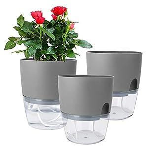 Silk Flower Arrangements Vanavazon 6 Inch Self Watering Planter Pots for Indoor Plants, 3 Pack African Violet Pots with Wick Rope-Grey