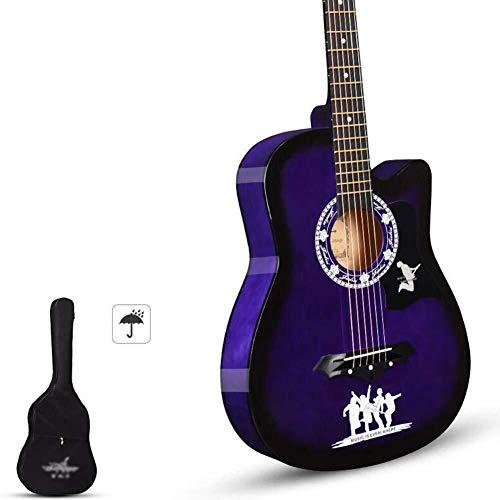 Folk pop gitaar Akoestische gitaar handgemaakte Beginner's kit met waterdichte behuizing, Strap Tone Resonance glanzend houten gitaar, 8 kleuren student gitaar (Color : F)