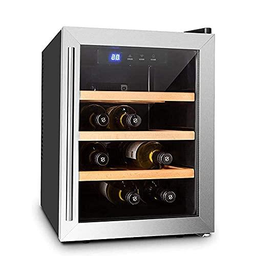 GJHK Mini Nevera para 9 Botellas, Bodega, Capacidad 33 litros, estantes de Madera, Extra Tranquilo, luz Interior LED