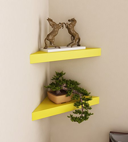 Home Sparkle Wooden Corner Wall Shelves (Set of 2, Yellow)