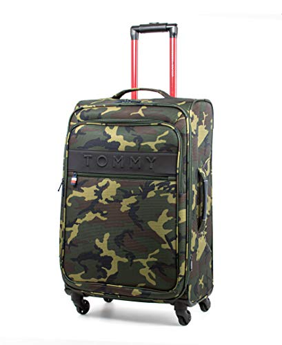 Tommy Hilfiger Network XL Softside Expandable Spinner Luggage, Olive Camo, 24 Inch