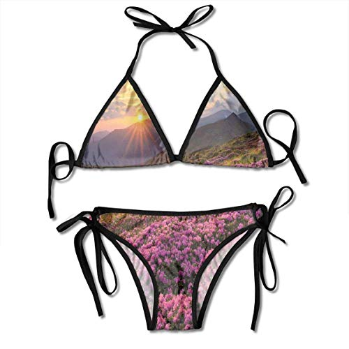 Damen Bikini Set, Exquisite Valley mit Riesen Vollmond Himmel Enchanted Fantasy Scenery, Zweiteiliger Badeanzug