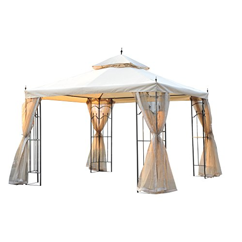 Outsunny 3(M) x3(M) Garden Gazebo Double Top Outdoor Canopy Patio Event Party Wedding Tent Backyard Sun Shade with Mesh Curtain - Beige