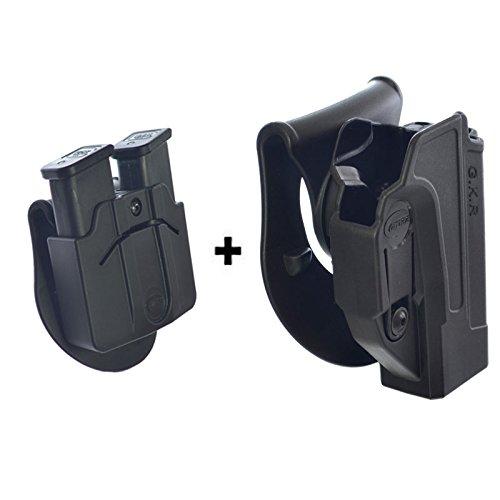 Orpaz Defense - Funda para pistola de retención táctica con función de retención oculta para Rotación Padd/Cinturón + Doble bolsillo para revistas Glock 17/19/22/23/25/26/27/31/32/34/35