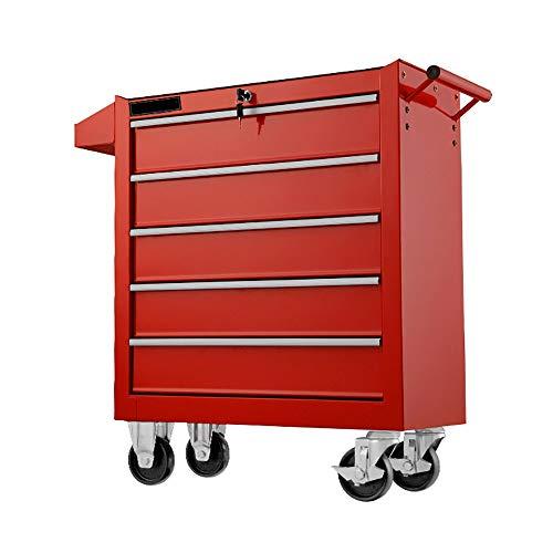 Gabinetes de Herramientas Centro de Servicios Tráfico pesado carro de la herramienta con rodante con la cerradura del cajón 5 Trabajo Móvil Jardín al aire Libre ( Color : Red , Size : 61.5x33x79cm )