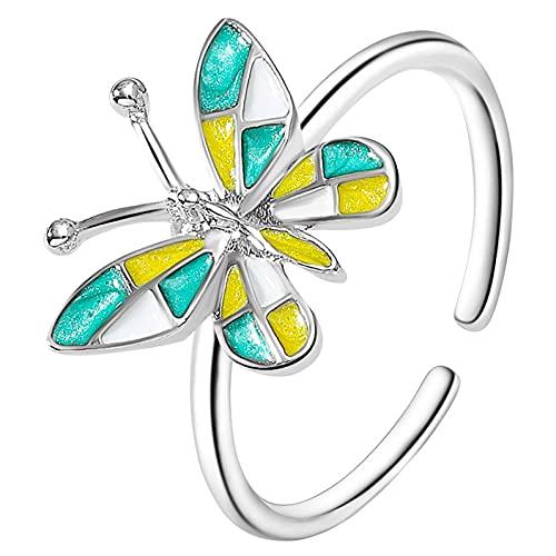 YEUCI - Anillo de mariposa retro con apertura de metal ajustable, adornos de metal duradero, elegante y ajustable, regalo para mujeres y niñas