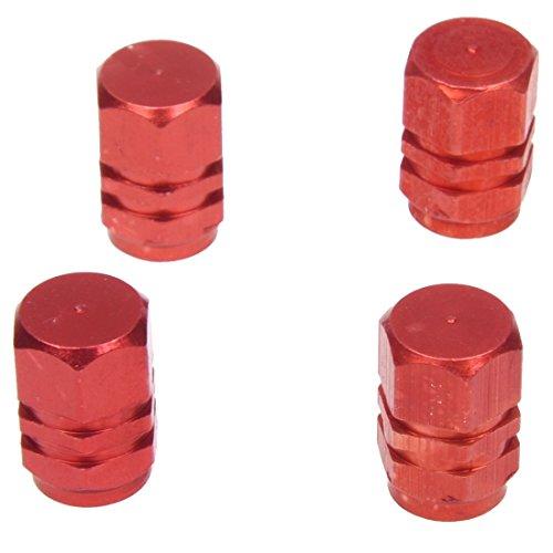 Vasko - Juego de 4 tapones de válvula de aluminio para neumáticos de Velo, moto, coche, color rojo