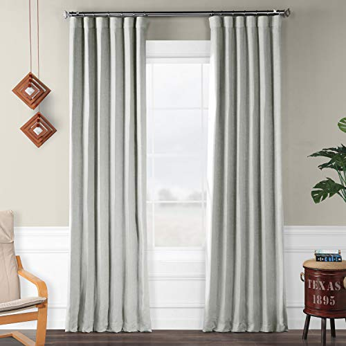 HPD Half Price Drapes BOCH-LN1859-96 Faux Linen Blackout Room Darkening Curtain (1 Panel), 50 X 96, Heather Grey