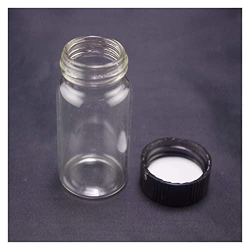 Youmine Science lab 20ml Black Screw Cap Lab Vials Analysis Clear Glass Sample Bottle