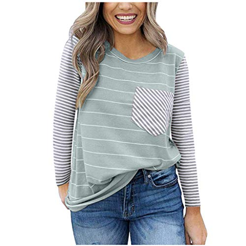 Buy Bargain Women Tunic Blouse Striped Long Sleeve Casual Color Block Pullover Tops O Neck T-Shirt w...