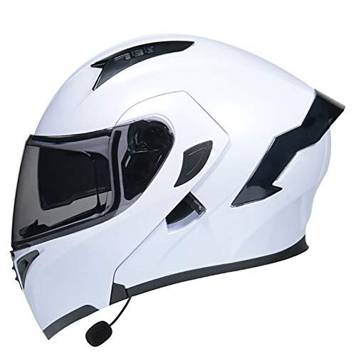 HZIH Bluetooth De Motocicleta Casco,Casco de Moto Modular Adultos Casco Integral Protector,Micrófono Incorporado para Auriculares Auriculares para Respuesta Automática,ECE Homologado N,XL=61~62cm