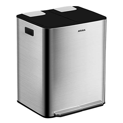 ANVAVA 30 L Stainless Steel Pedal Bin with Soft Close Lid, Fingerprint Proof Rectangular Rubbish Bin Trash Can with 2 Removable Inner Bucket for Bathroom, Kitchen (Silver)