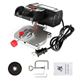 Mini Miter Saw Electric Power Table Saw Benchtop Cut-Off Chop Saw Max 45 Degree Cutting for Crafts Miniatures Metal Wood Plastic Compound Cutter