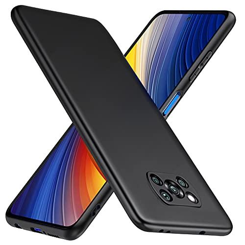TesRank Funda Xiaomi Poco X3 Pro & Poco X3 NFC, Carcasa TPU Suave Fundas para Xiaomi Poco X3 Pro & Poco X3 NFC Flexible [Resistente a arañazos] [Ultrafina Ligero]-Negro
