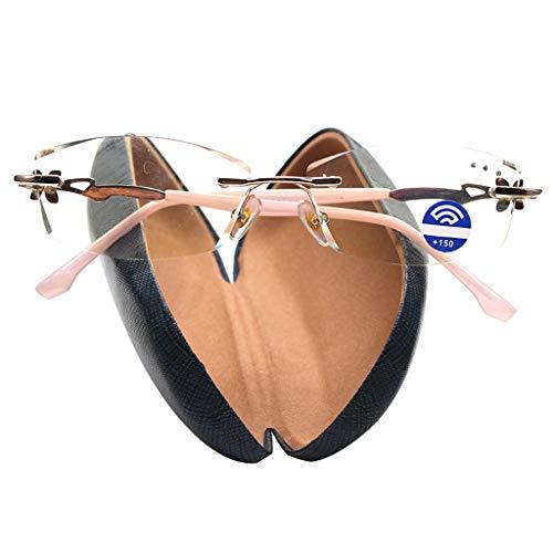 BWBZ Gafas de Lectura Anti-Azules Gafas de Lectura de Metal Vintage Sin Marco Antifatiga Almohadillas de Nariz Cómodas Bisagra de Aleación Mujer Gafas de Lectura Portátiles