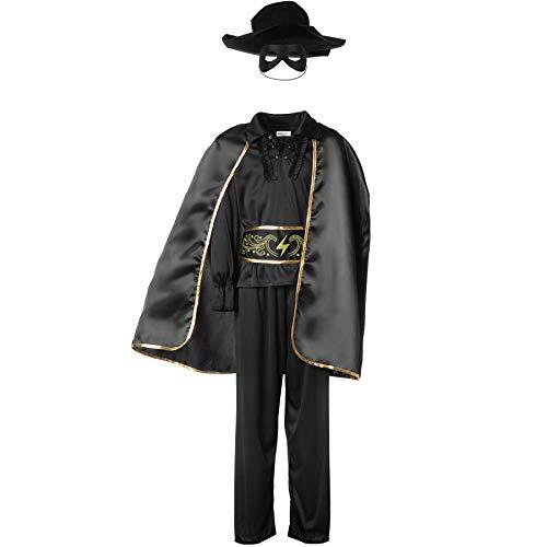 dressforfun 900518 - Disfraz de Chico de Zorro, Traje de El Zorro Negro, Incluye Capa Máscara y Sombrero (140 | No. 302590)