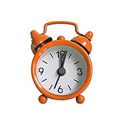 Nmch 3 Mini Non-Ticking Vintage Classic Analog Alarm Clock with Backlight, Battery Operated Travel Clock, Loud Twin Bell Alarm Clock for Kids(Orange)