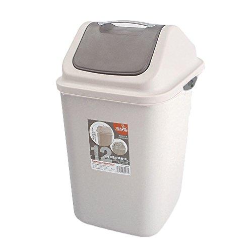 ASDFGH Basurero Tapa del oscilación,Cubos de Basura con Tapas Contenedores de residuos plástico Alta Capacidad Rígida Papelera Papeleras de Oficina Papelera en casa y Cocina Cuarto de baño-F