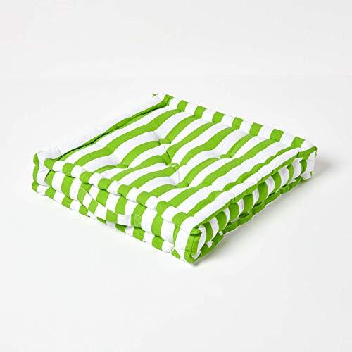 HOMESCAPES Coussin de Chaise à Rayures épaisses de Couleurs Vert et Blanc Fait en 100% Coton de 40x40 cm pour Chaise de Salon et Chaise de Jardin