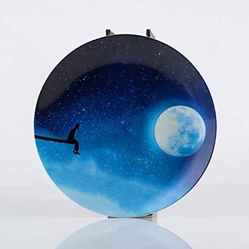 Las placas ZJN-JN Pequeño cerámica Home Plate nórdica estilo occidental plato de placas ajustado Ins neto roja de la foto de la placa del cielo estrellado de la torta de postre plato azul 20cm vajilla