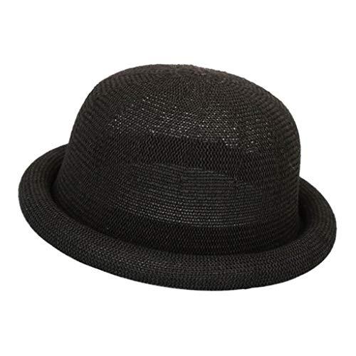 Sombrero Fedora Transpirable Ala Estrecha Rizada Color Sólido para Playa Fiesta - Negro, 57cm