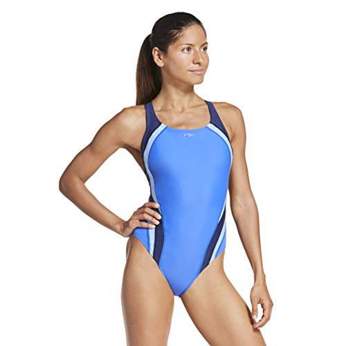 Speedo Women's Swimsuit One Piece Creora Highclo Quantum Splice High Cut Solid, Fusion Hyper Blue, 8