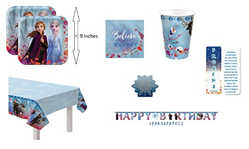 Stay at Home, No School, Everyday or Birthday Princess Party Bundle: 16 Paper Plates, 16 Paper Napkins, 16 cups, Tablecloth, Add-An-Age Birthday Banner, A Glitter and Decal Candle and an Exclusive ElevenPlus 2 Bookmark. Make the Best of Your Time Together During the Pandemic. Family Birthday Parties at Lunch Time or During Dinner can be fun!