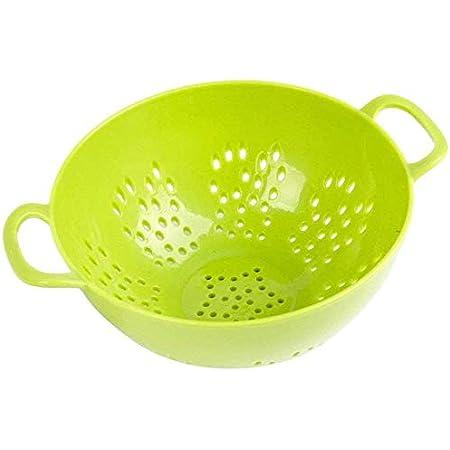Jacent Plastic Colander with Double Handles, Strainer for Fruits, Vegetables, Pasta: 6 inch, BPA Free Plastic, Dishwasher Safe