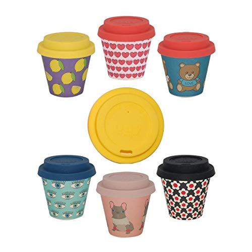QUY CUP Tazze Espresso in bambù – Set 6 Pezzi. 90ml. Design Italiano Esclusivo, Realizzate con Fibre Naturali, Sostenibile, Senza BPA, Tazze Termiche Portatili e riutilizzabili, bio-Based Material