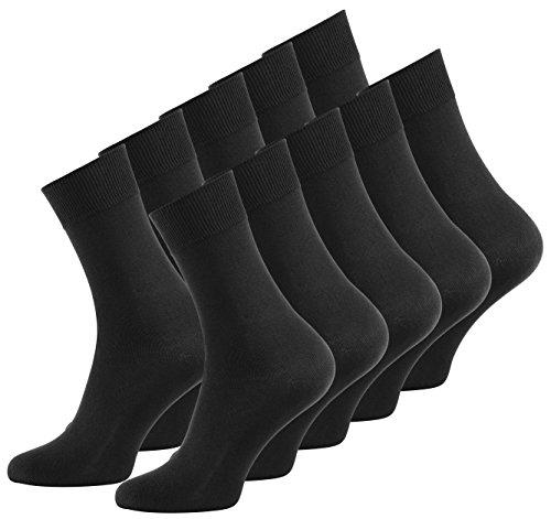 Vincent Creation 10 Paar Herren Business Socken schwarz, Baumwoll Herrensocken, Anzugsocken
