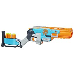 ... shape of a futuristic shotgun, this nerf blaster can fire three Zombie  Strike soft-tipped darts all at once for maximum damage. The nerf gun  features a ...