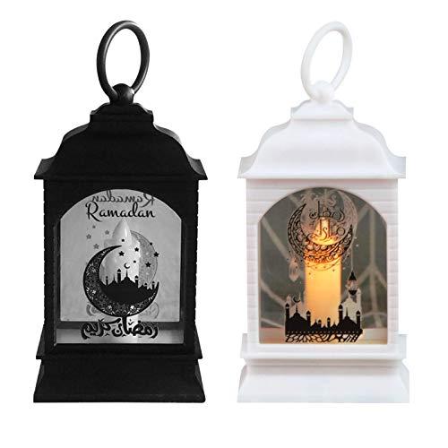 jaspenybow 2Pcs Ramadan Dekorative Laterne,Ramadan Led Laterne Candle Mit Batterie AG13,Eid Dekorationen Holz DIY Lampe,Eid Mubarak Leuchtende Dekorationen